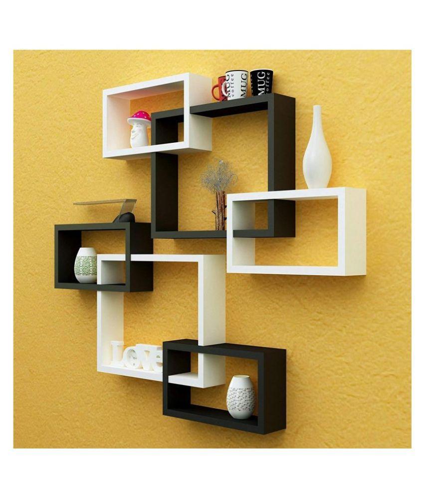 SAMRAH INTERNATIONAL MDF Rectangular Intersecting Wall Mounted Rack Shelf Set of 6 (Black & White, Standard)
