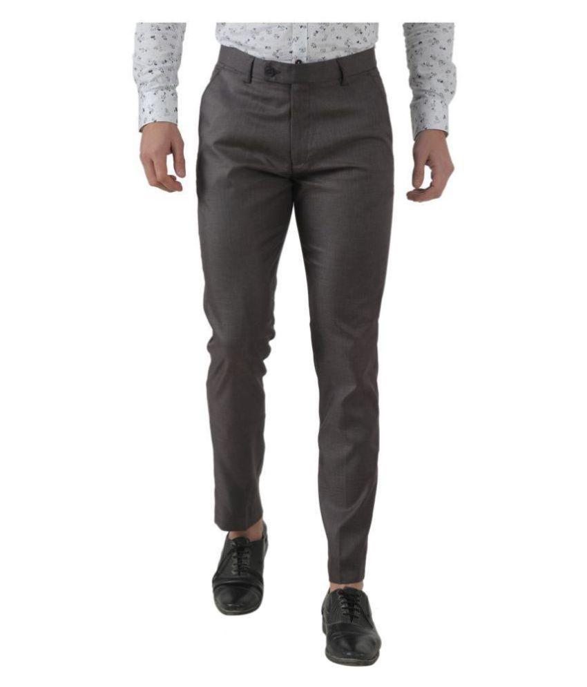 Inspire Grey Slim -Fit Flat Trousers Single