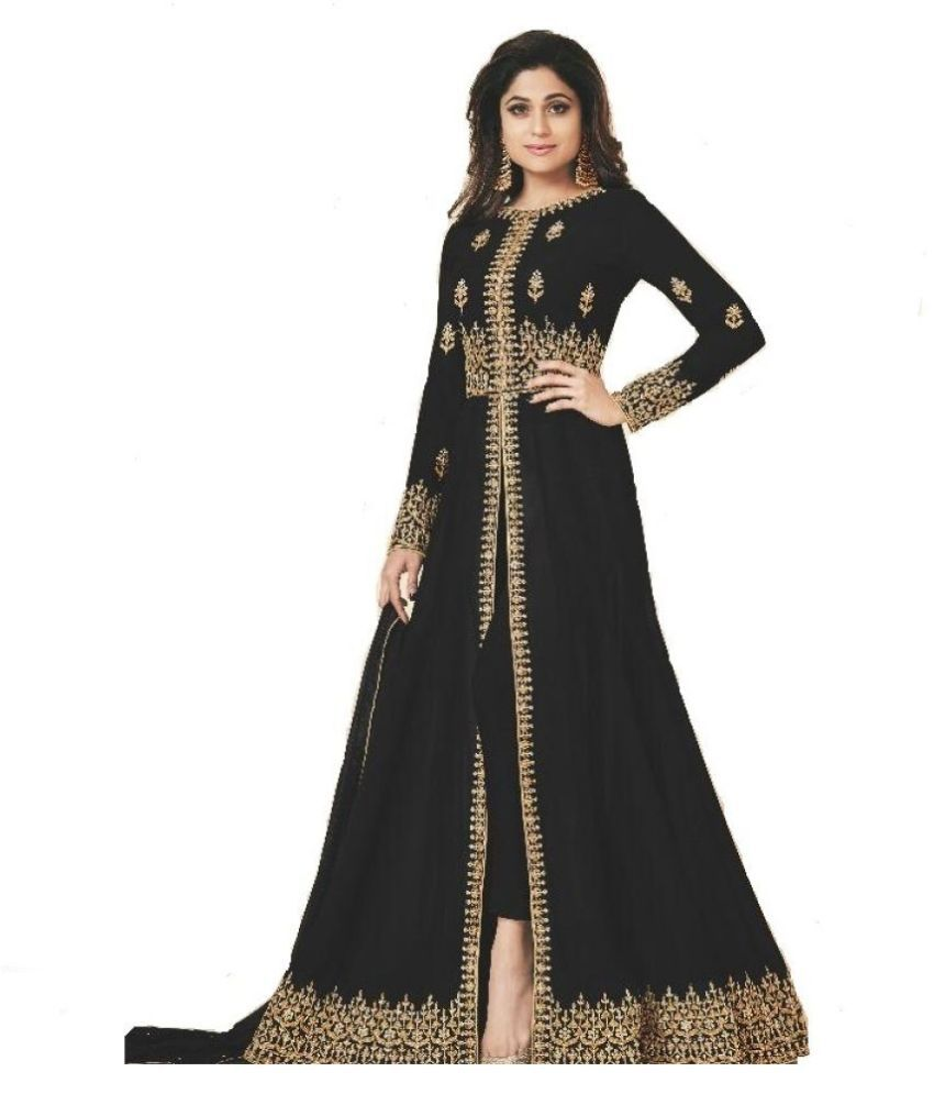THE 9192 Black Georgette Straight Semi-Stitched Suit - Single