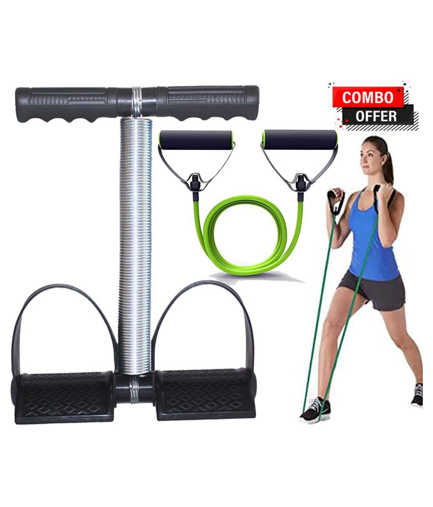 Single Spring Tummy Trimmer for Men & Women, with Toning Tube Single Combo Pack Waist Fat Buster, Abs Exercise & Body Toner Equipment for Home & Gym Use.(Green)