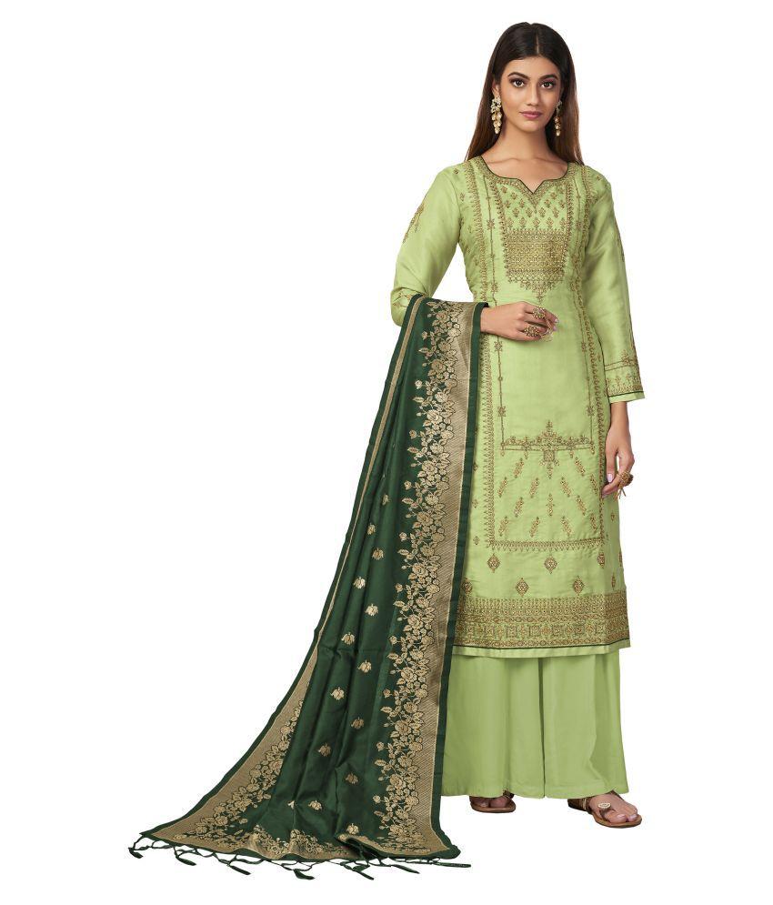 VUBA Green Tussar Silk Straight Semi-Stitched Suit - Single