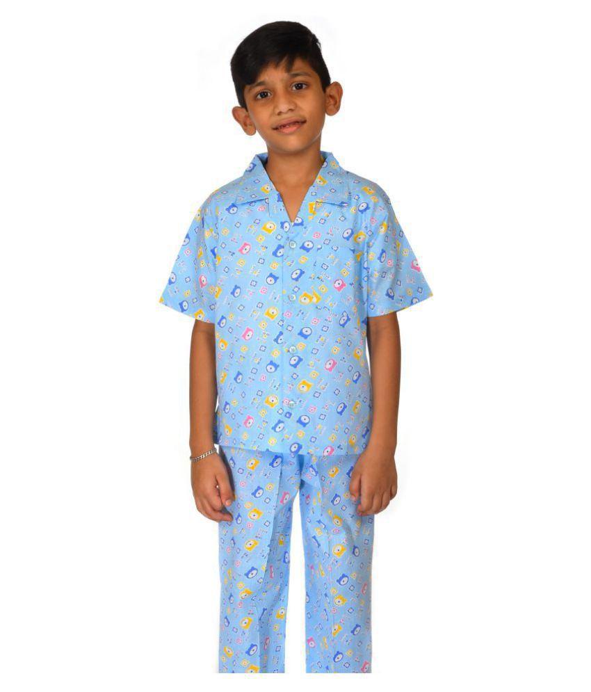 Cotton Night Dress for Boys, Girls, Kids-Half Sleeves, Collared Neck, Nursery Print