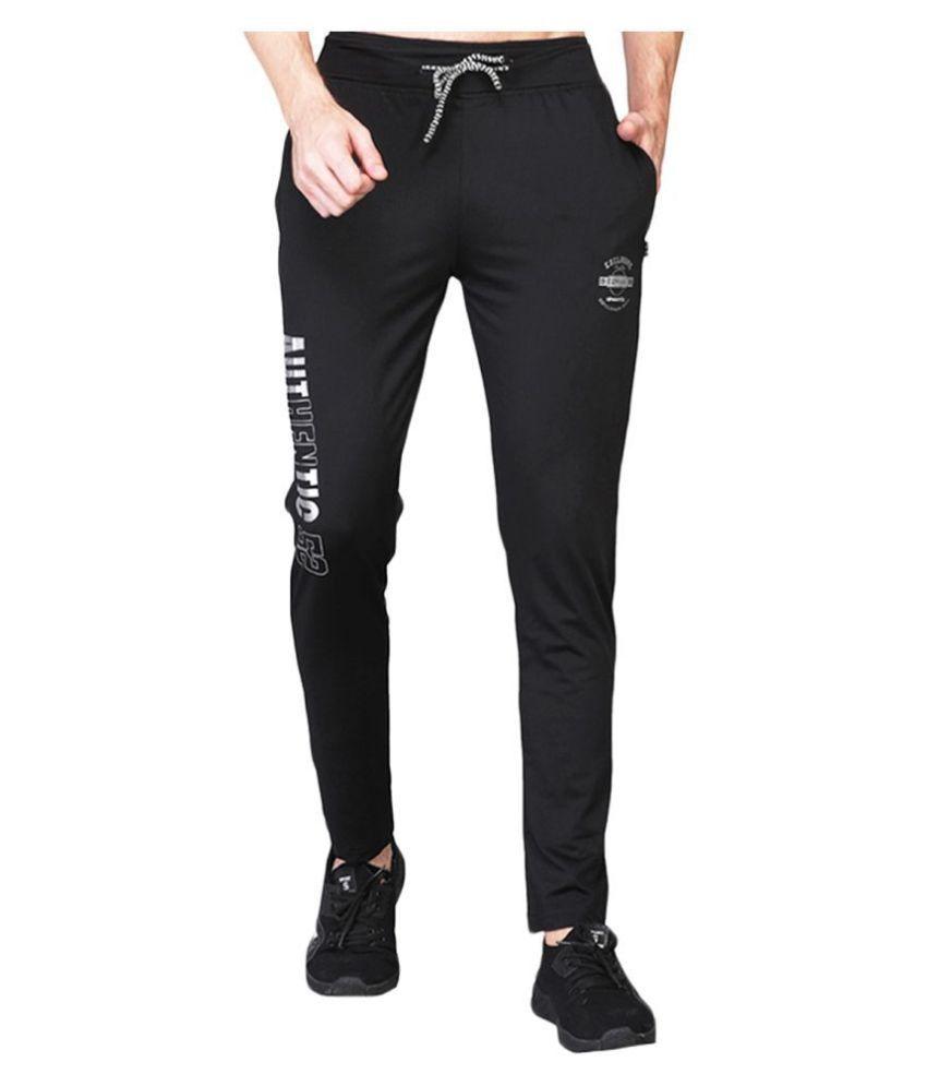 White Moon Dryfit Lycra polyester Black Trackpants For Men