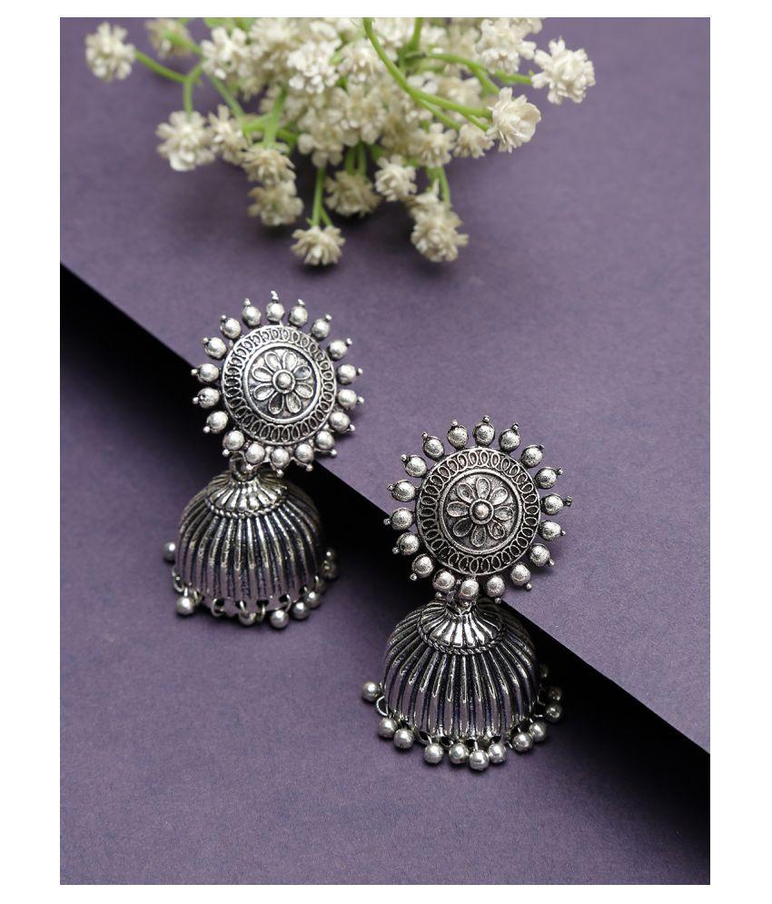 NEUDIS Oxidised Ethnic Antique Silver Toned Floral Jhumki Drop Earring