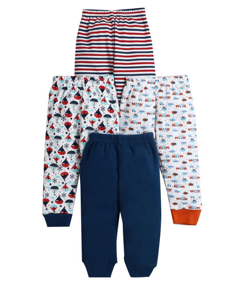 Hopscotch Baby Boy Cotton All Over Printed Pants Pack Of 4 in  Color For Ages 3-6 Months (BUV-3691650)