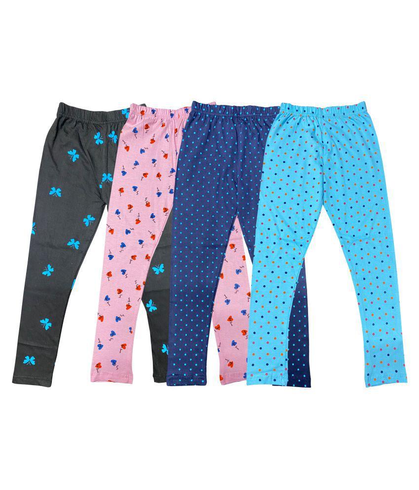 Diaz cotton Girls printed legging pack of 4