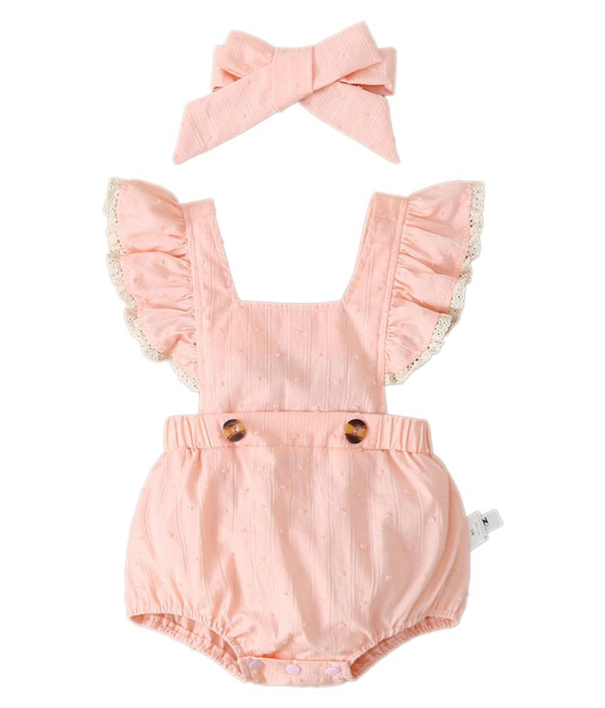 Hopscotch Baby Girl Cotton Wings Sleeves Solid Onesies in  Color For Ages 9-12 Months (MFN-3601072)