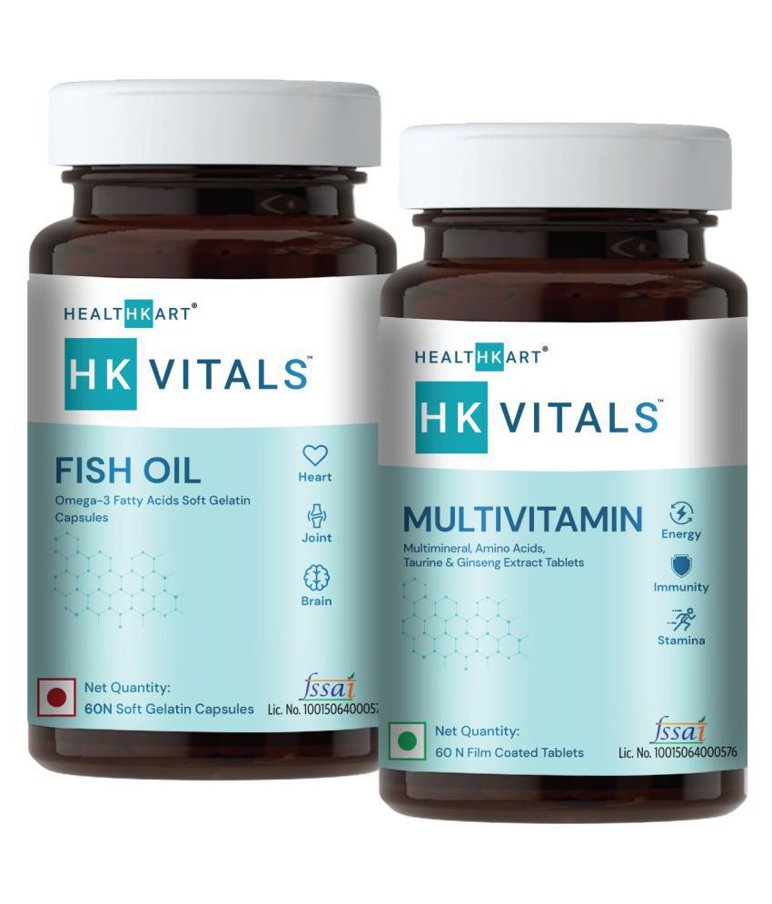 HealthKart HK Vitals Fish Oil with Omega 3 and Multivitamin, 60 Capsules + 60 Tablets 120 no.s Unflavoured Multivitamins Tablets Pack of 2