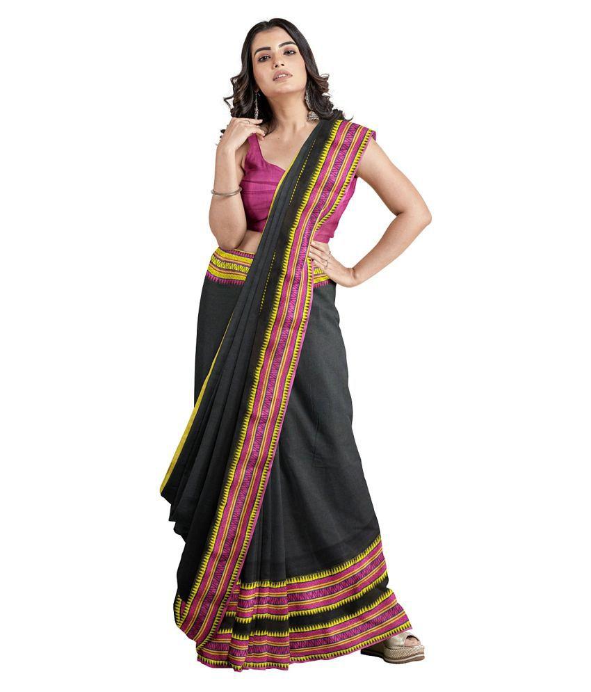 PREOSY Black Cotton Saree - Single