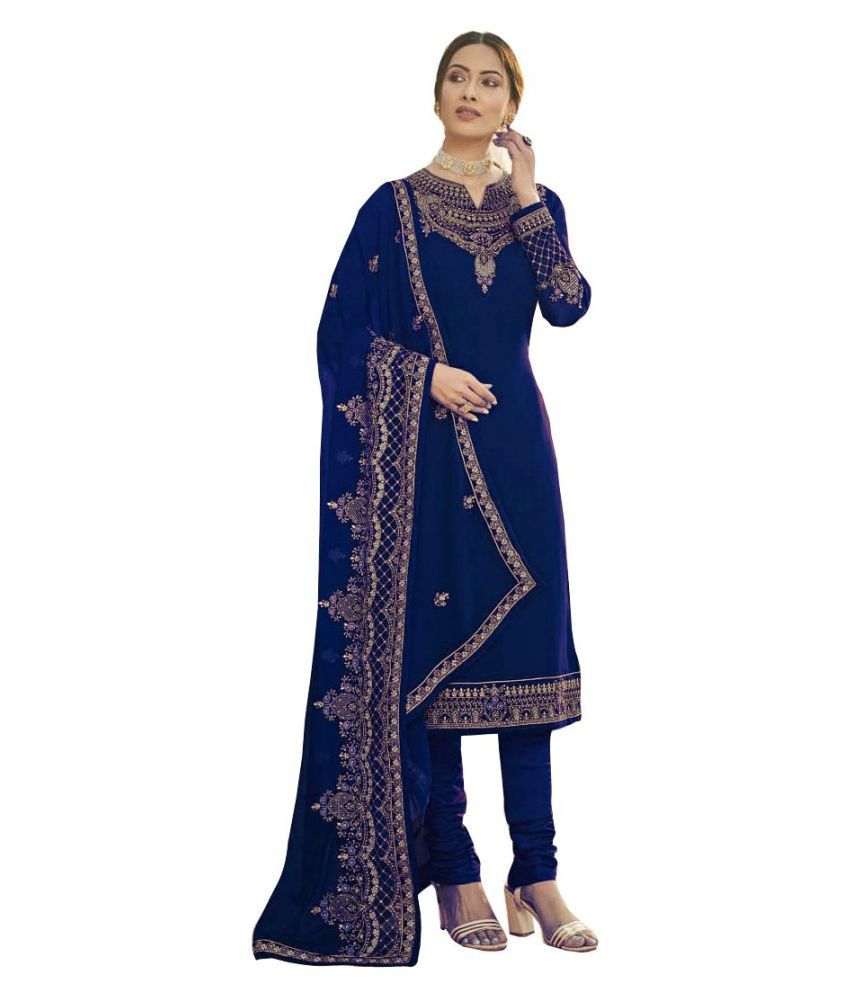 Ethnic Yard Blue Georgette Straight Semi-Stitched Suit - Single
