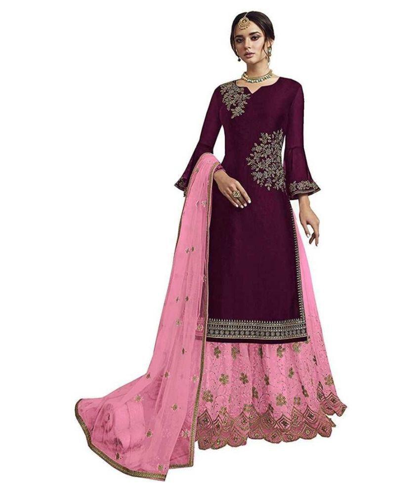 Ethnic Yard Purple Silk Straight Semi-Stitched Suit - Single
