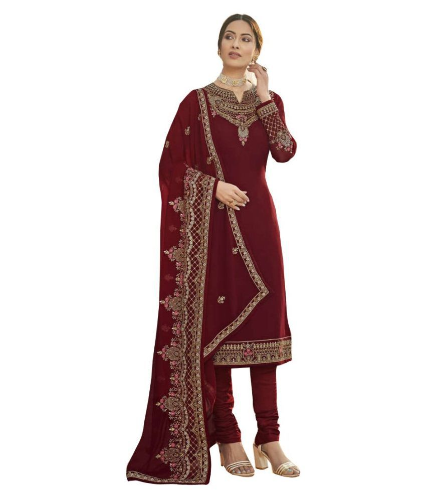 Ethnic Yard Red Georgette Straight Semi-Stitched Suit - Single