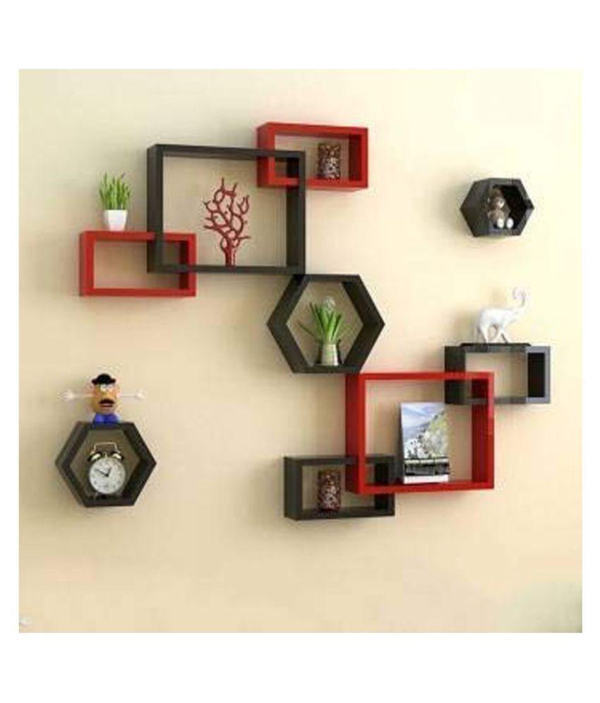 Clover Crafts Floating Rectangular Intersecting Wall Mounted Shelf Rack Set of 6 & Hexagonal Home & Wall Decor Wall Shelf Set of 3 (Red & Black)