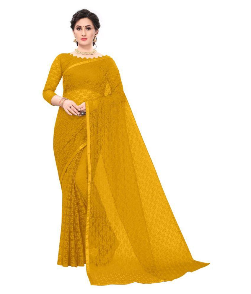 THE 9192 Yellow Net Saree - Single