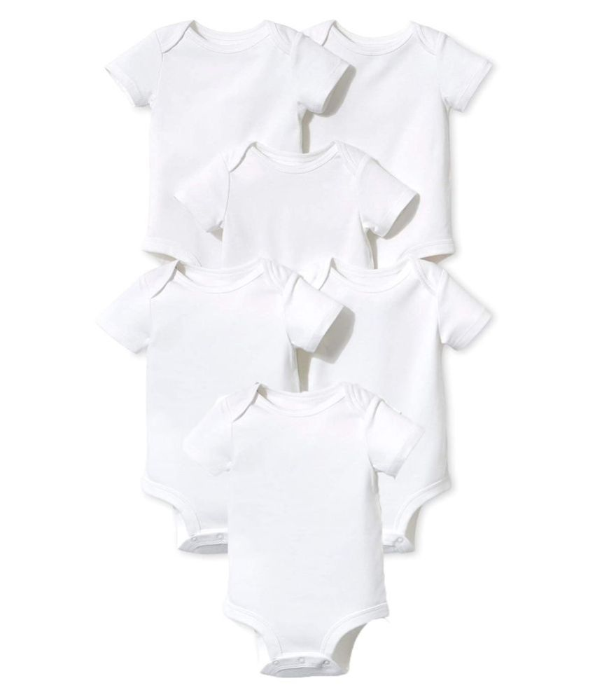ICABLE Baby Boys and Baby Girls Plain Cotton Rompers Set of 6