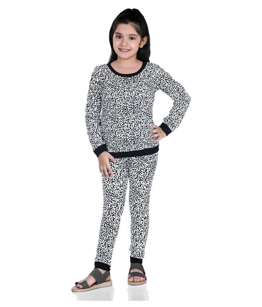 Naughty Ninos Girls Printed Night Suit Sets (White & Black)