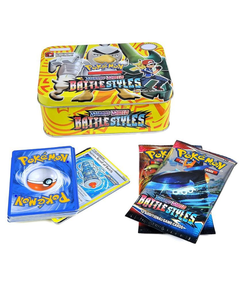 VBE Poke-mon Cards Game Sword and Shield Battle Styles Cards for All Ages Totally Surprising Sealed Pack Cards Game Card in Attractive Big Metal Tin Box (41 Cards)