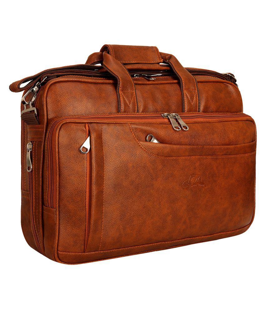 Leather World Laptop Messenger Tan P.U. Office Bag