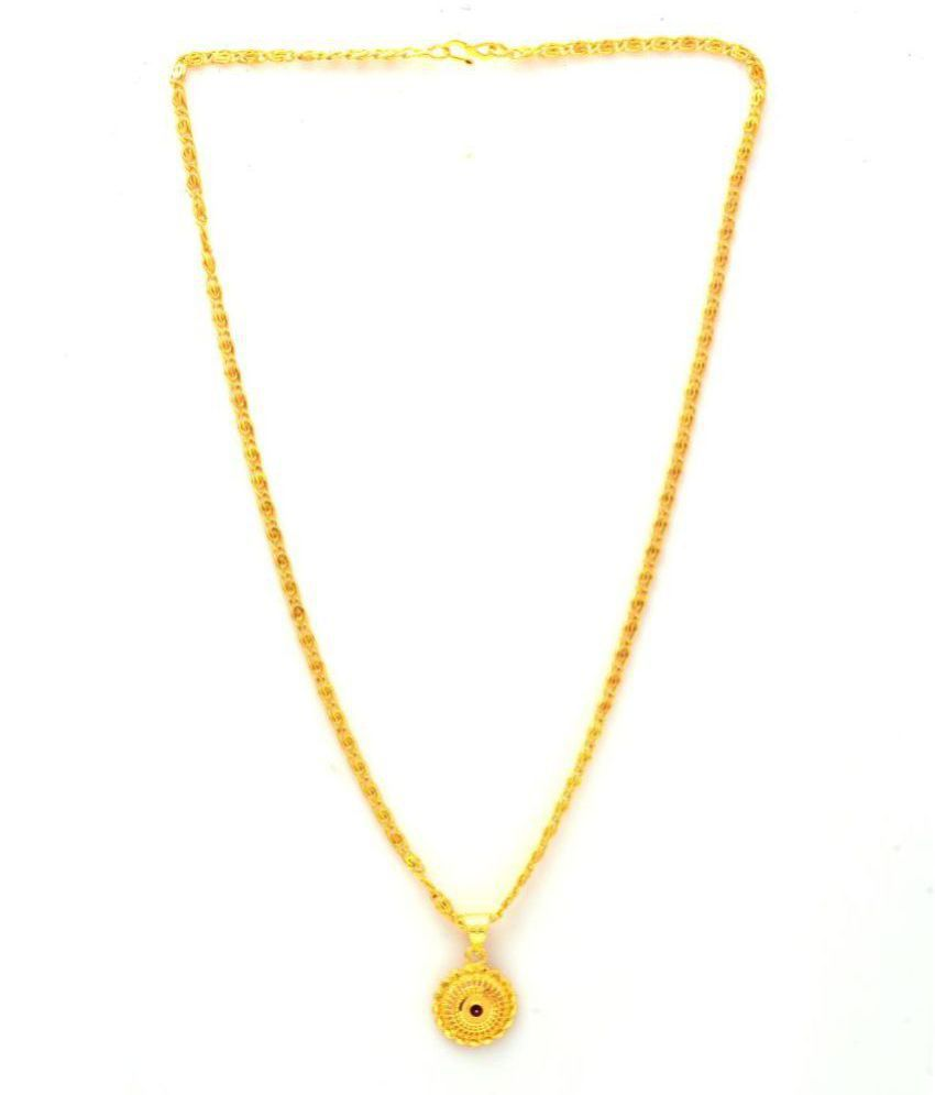 Jewar Mandi New Design Gold Plated Locket/Pendant with Link Chain Daily use for Men, Women & Girls, Boys