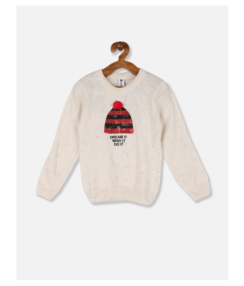 Cherokee Girls Off White Ribbed Crew Neck Embellished Sweater