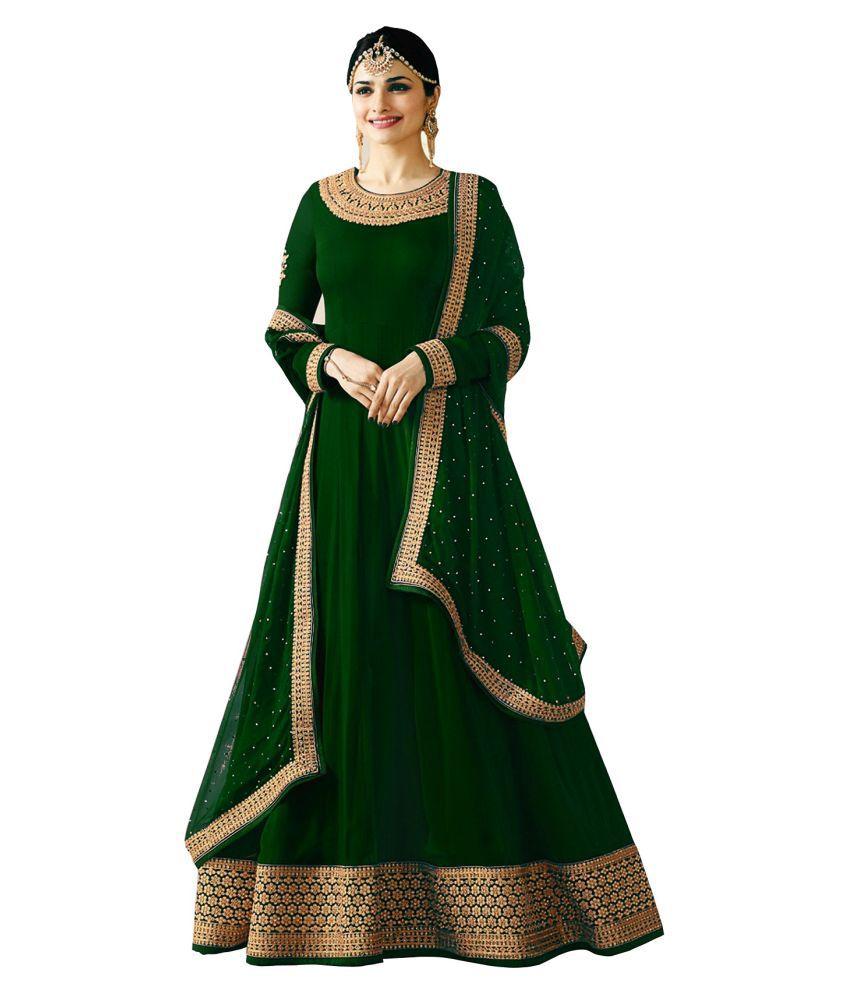 LOOKFIELD Green Georgette Anarkali Semi-Stitched Suit - Single