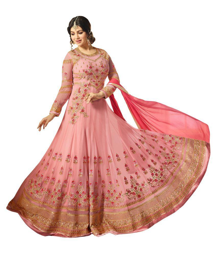 LOOKFIELD Pink Georgette Anarkali Semi-Stitched Suit - Single