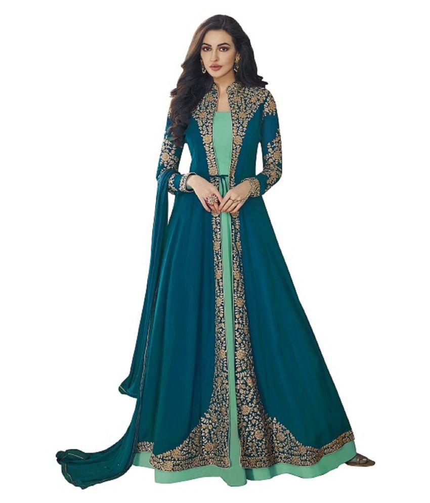 LOOKFIELD Turquoise Georgette Anarkali Semi-Stitched Suit - Single