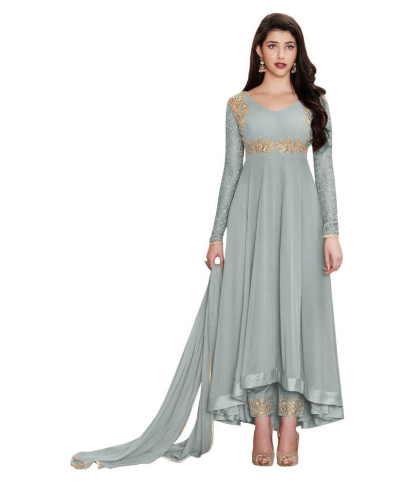 LOOKFIELD Grey Georgette Anarkali Semi-Stitched Suit - Single