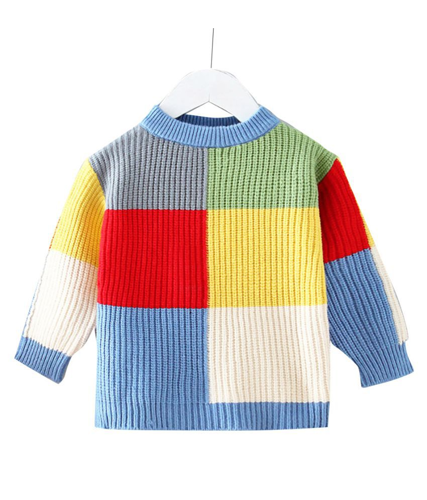 Hopscotch Girls Polyetser Full Sleeves Checked Pattern Sweater in Blue Color For Ages 2-3 Years (EWE-3217091)