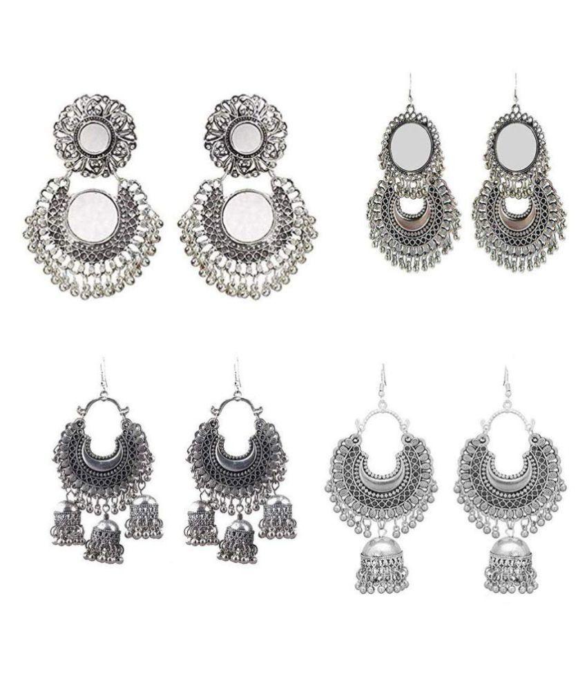 Hitarh  Afghani Gypsy Lightweight Combo Fashion Mirror Earrings Jewelry for Women and Girls