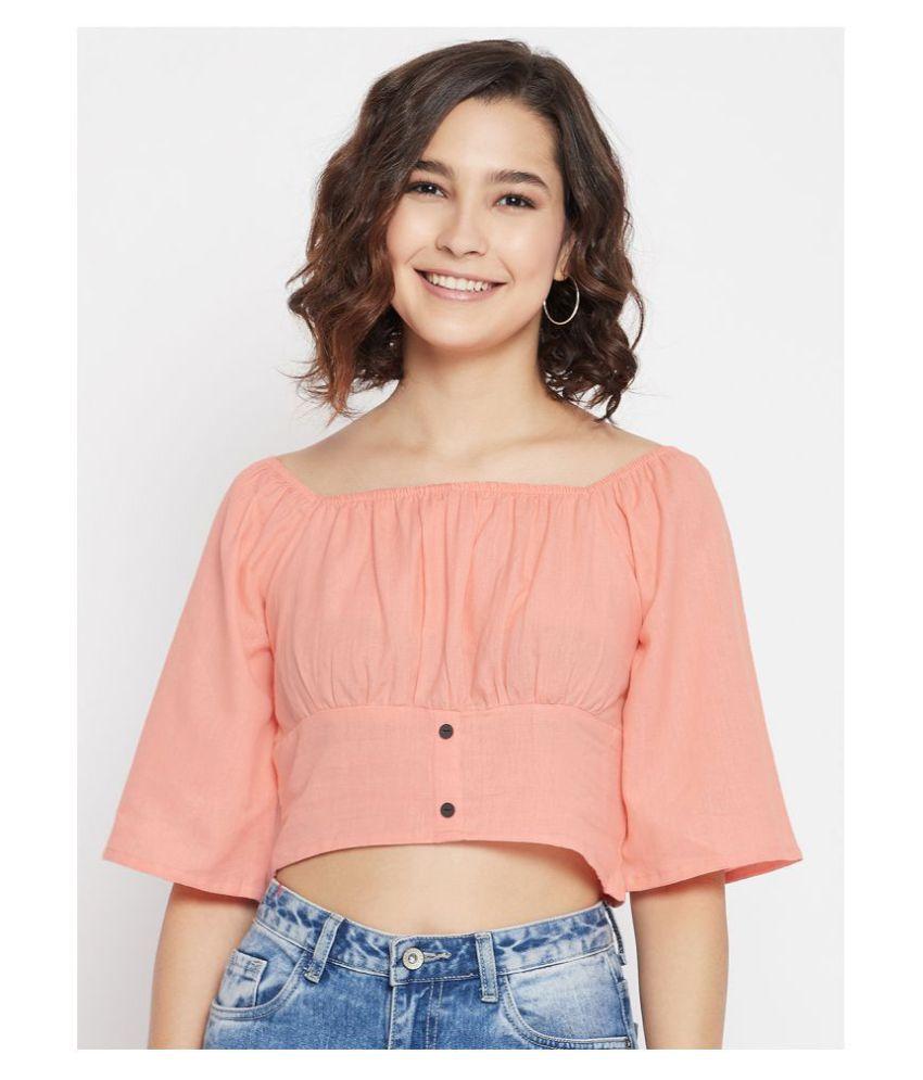 Jhankhi Cotton Crop Tops - Pink
