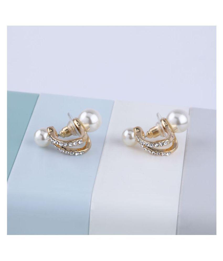 SILVER SHINE  Party Wear Charm Pearl Stud Earring For Women Girl