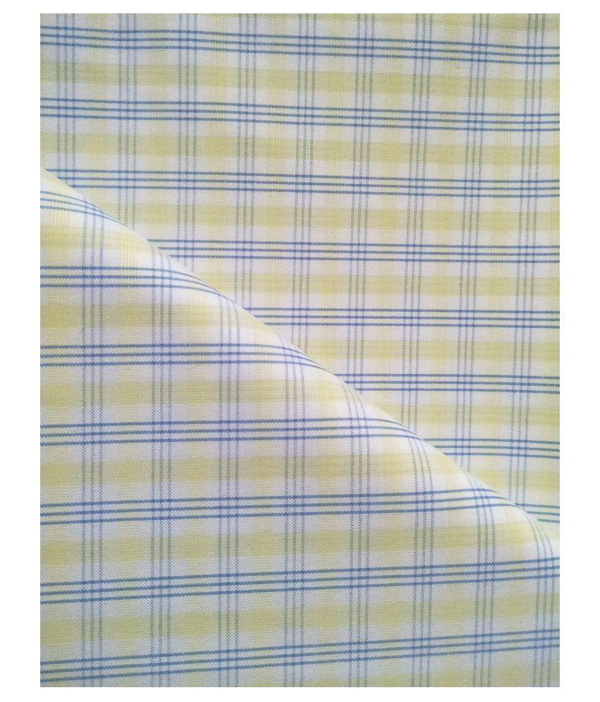 Makhanchor Yellow Cotton Blend Unstitched Shirt pc Single