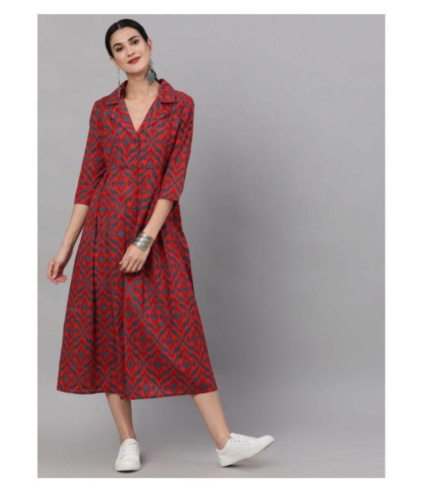AKS Cotton Red A- line Dress -