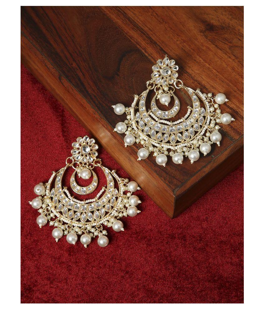 OOMPH Jewellery Gold Tone Jadau Kundan & Pearls Large Chandbali Earrings For Women & Girls