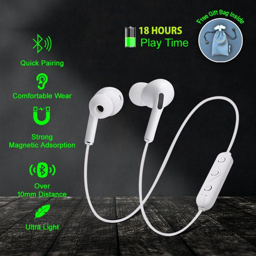 Hitage MBT-154 MAGNETIC 18 HOURS BATTERY BACKUP [ FEEL THE KICK ] Compatible ALL ANDROID AND IOS SYSTEM Wireless magnetic Neckband 18 Hours Music Playback With Bass Headphones/Earphones