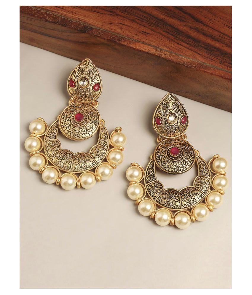 Fabula Jewellery Antique Gold Tone Red Stone & Pearls South Indian Chandbali Earrings for Women & Girls